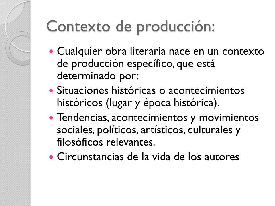 Contexto de producción: Cualquier obra literaria nace en un contexto de producción específico, que está determinado por: Situaciones históricas o acon