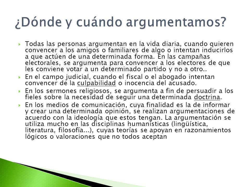 En muchos textos argumentativos se distinguen tres partes: La tesis o idea básica que se va a defender.