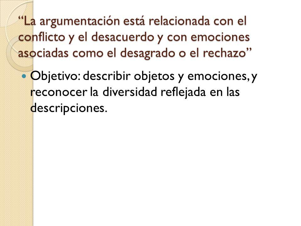La argumentación está relacionada con el conflicto y el desacuerdo y con emociones asociadas como el desagrado o el rechazo Objetivo: describir objeto