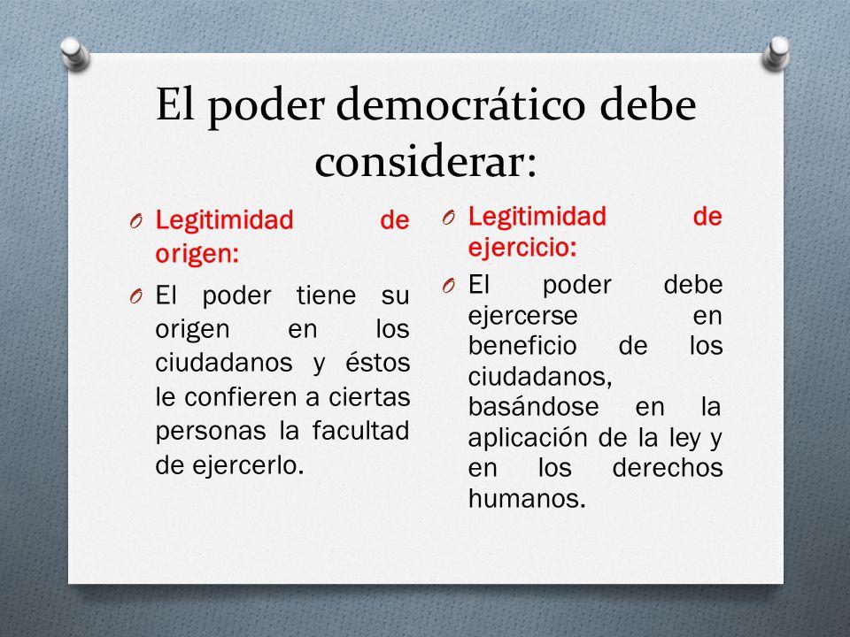 El poder democrático debe considerar: O Legitimidad de origen: O El poder tiene su origen en los ciudadanos y éstos le confieren a ciertas personas la