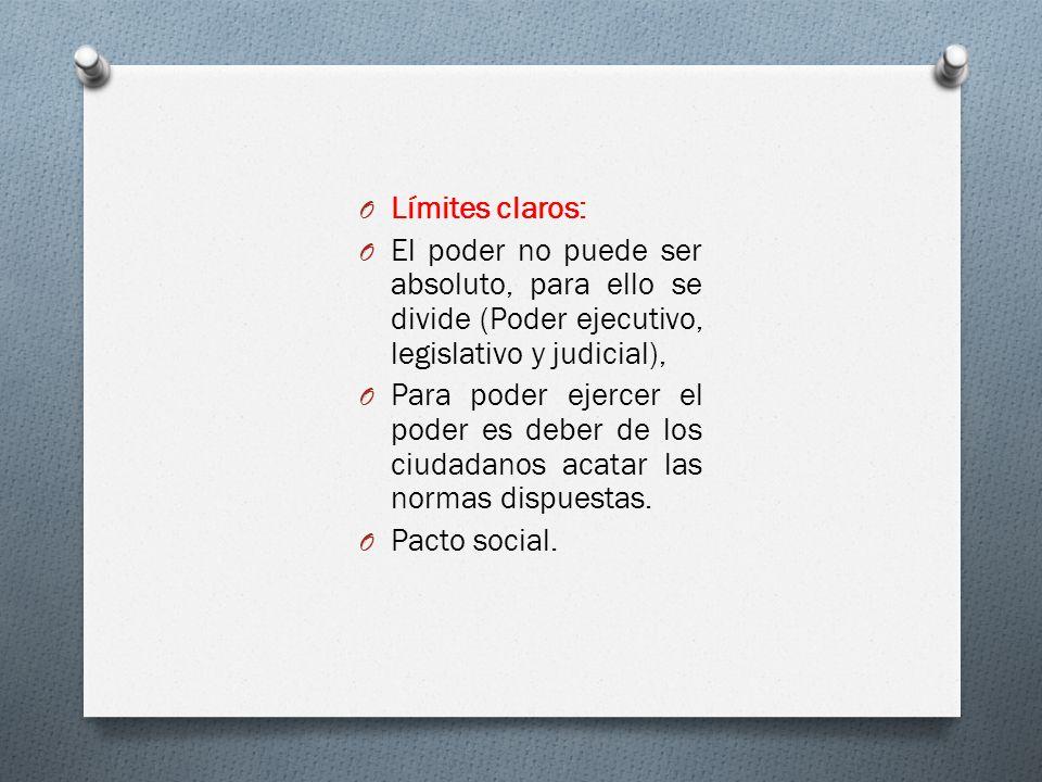 O Límites claros: O El poder no puede ser absoluto, para ello se divide (Poder ejecutivo, legislativo y judicial), O Para poder ejercer el poder es de