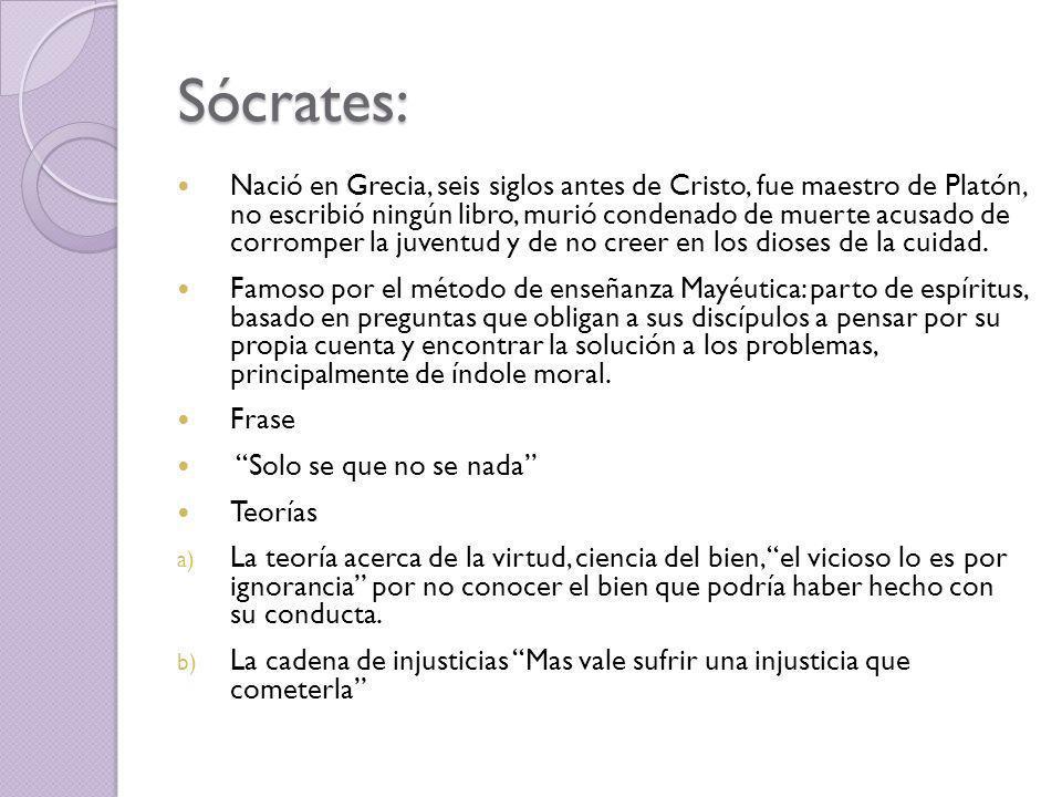 Sócrates: Nació en Grecia, seis siglos antes de Cristo, fue maestro de Platón, no escribió ningún libro, murió condenado de muerte acusado de corromper la juventud y de no creer en los dioses de la cuidad.