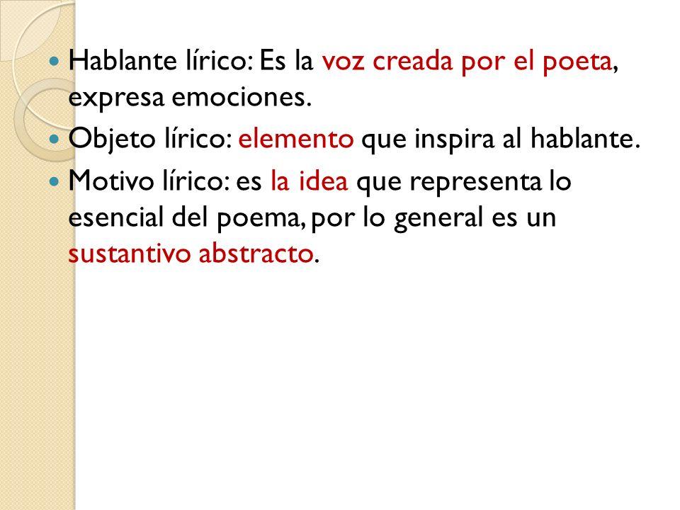 Hablante lírico: Es la voz creada por el poeta, expresa emociones. Objeto lírico: elemento que inspira al hablante. Motivo lírico: es la idea que repr