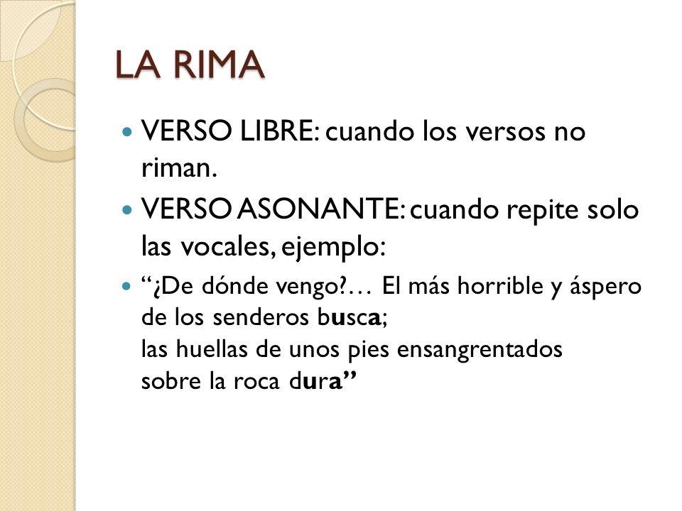 LA RIMA VERSO LIBRE: cuando los versos no riman. VERSO ASONANTE: cuando repite solo las vocales, ejemplo: ¿De dónde vengo?… El más horrible y áspero d