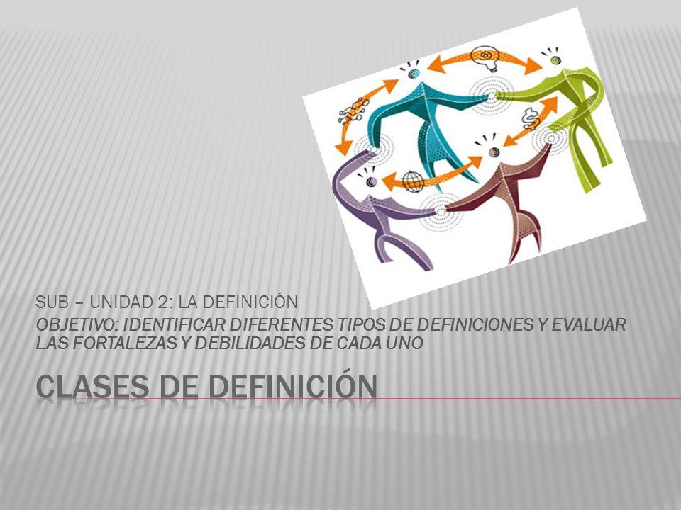 SUB – UNIDAD 2: LA DEFINICIÓN OBJETIVO: IDENTIFICAR DIFERENTES TIPOS DE DEFINICIONES Y EVALUAR LAS FORTALEZAS Y DEBILIDADES DE CADA UNO