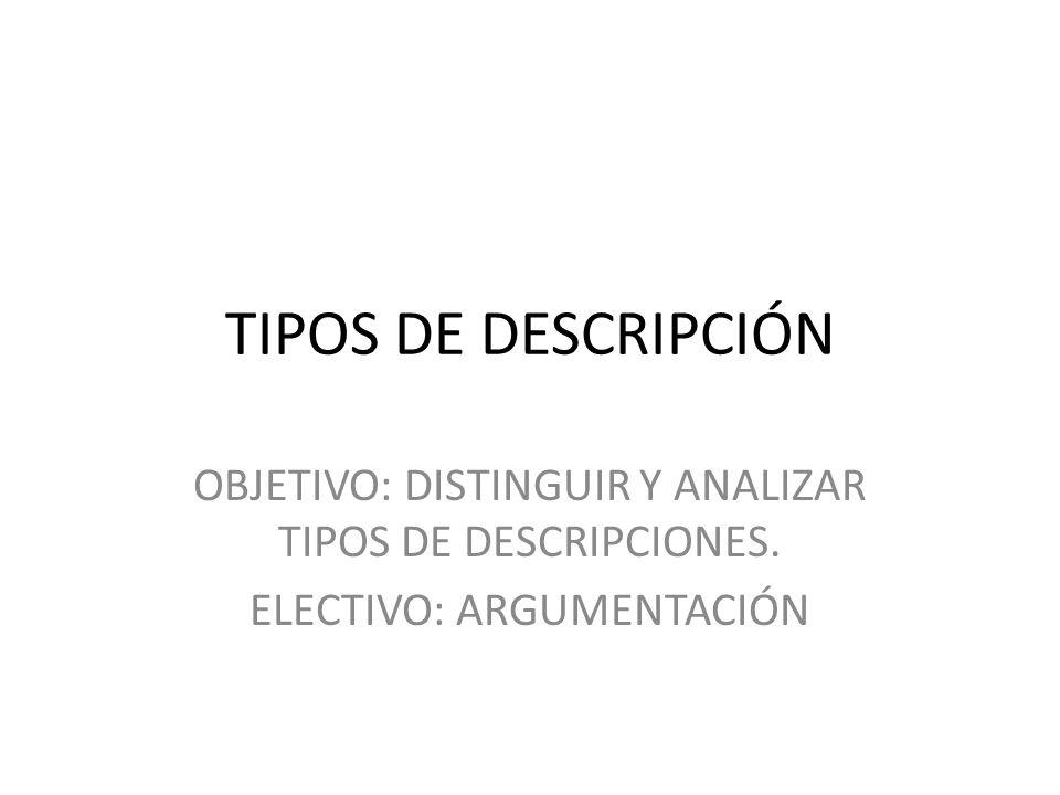 TIPOS DE DESCRIPCIÓN OBJETIVO: DISTINGUIR Y ANALIZAR TIPOS DE DESCRIPCIONES. ELECTIVO: ARGUMENTACIÓN