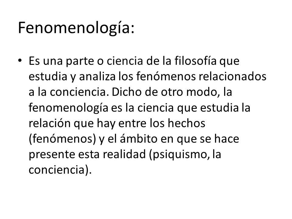 Fenomenología: Es una parte o ciencia de la filosofía que estudia y analiza los fenómenos relacionados a la conciencia. Dicho de otro modo, la fenomen