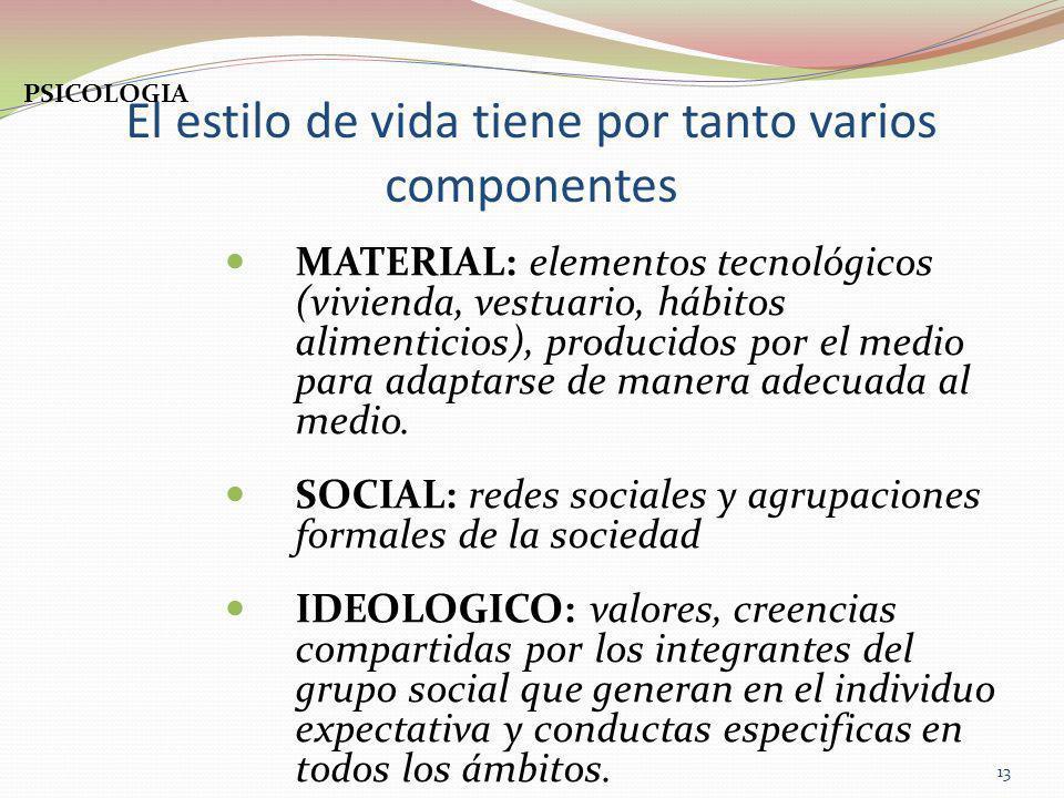 El estilo de vida tiene por tanto varios componentes MATERIAL: elementos tecnológicos (vivienda, vestuario, hábitos alimenticios), producidos por el m