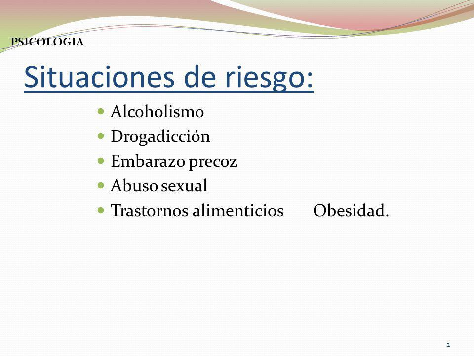Situaciones de riesgo: Alcoholismo Drogadicción Embarazo precoz Abuso sexual Trastornos alimenticios Obesidad. 2 PSICOLOGIA