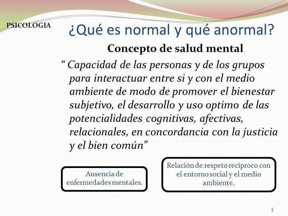 ¿Qué es normal y qué anormal? Concepto de salud mental Capacidad de las personas y de los grupos para interactuar entre si y con el medio ambiente de