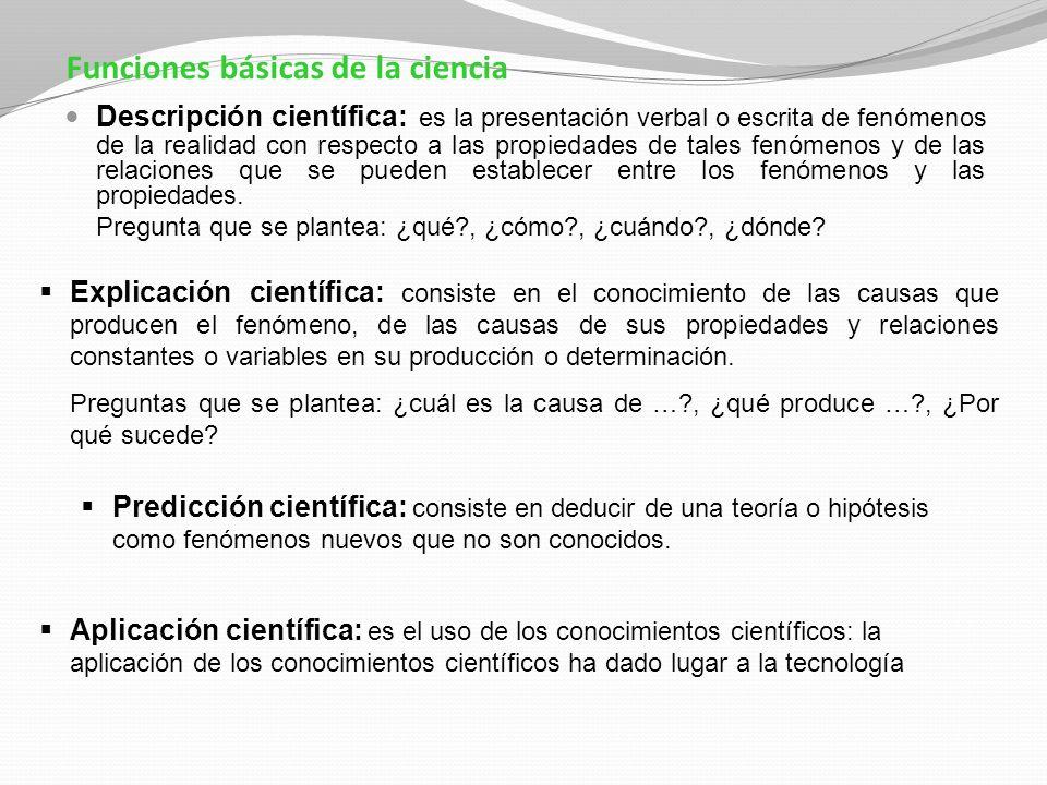 Funciones básicas de la ciencia Descripción científica: es la presentación verbal o escrita de fenómenos de la realidad con respecto a las propiedades
