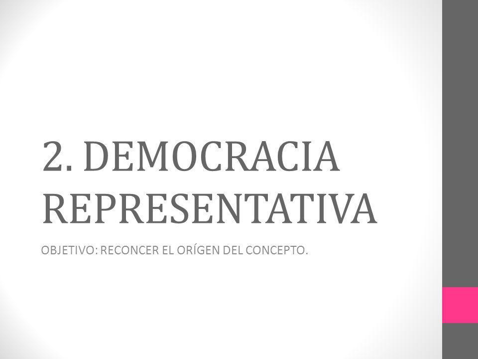 2. DEMOCRACIA REPRESENTATIVA OBJETIVO: RECONCER EL ORÍGEN DEL CONCEPTO.