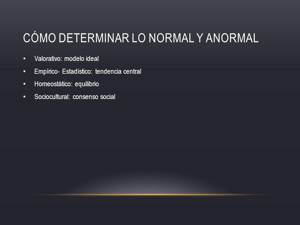 CÓMO DETERMINAR LO NORMAL Y ANORMAL Valorativo: modelo ideal Empírico- Estadístico: tendencia central Homeostático: equilibrio Sociocultural: consenso