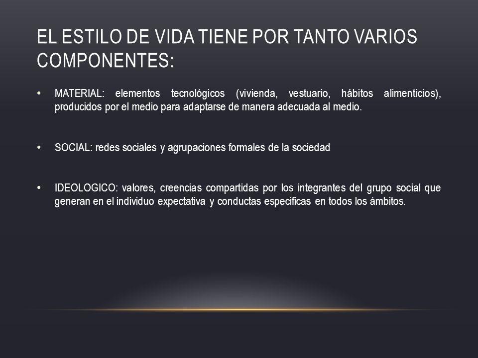 EL ESTILO DE VIDA TIENE POR TANTO VARIOS COMPONENTES: MATERIAL: elementos tecnológicos (vivienda, vestuario, hábitos alimenticios), producidos por el