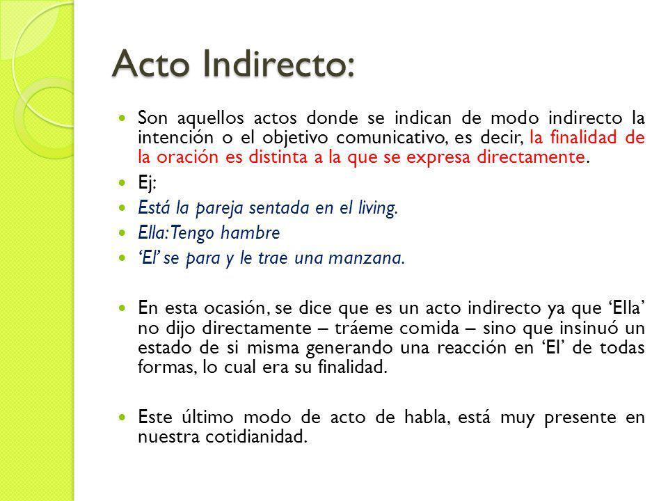 Acto Directo: Son aquellos actos en que se expresa directamente la intención del enunciado; las intenciones van explícitamente.