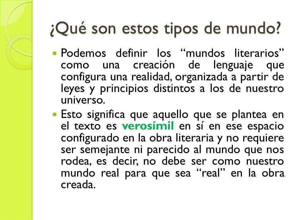 ¿Qué son estos tipos de mundo? Podemos definir los mundos literarios como una creación de lenguaje que configura una realidad, organizada a partir de