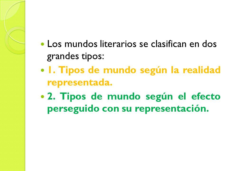 Los mundos literarios se clasifican en dos grandes tipos: 1. Tipos de mundo según la realidad representada. 2. Tipos de mundo según el efecto persegui