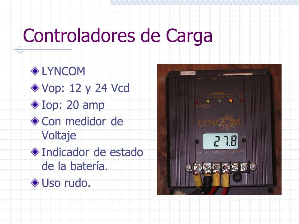 Controladores de Carga LYNCOM Vop: 12 y 24 Vcd Iop: 20 amp Con medidor de Voltaje Indicador de estado de la batería. Uso rudo.
