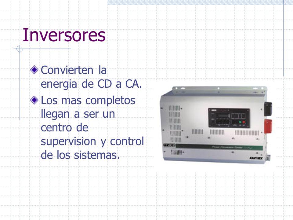 Inversores Convierten la energia de CD a CA. Los mas completos llegan a ser un centro de supervision y control de los sistemas.