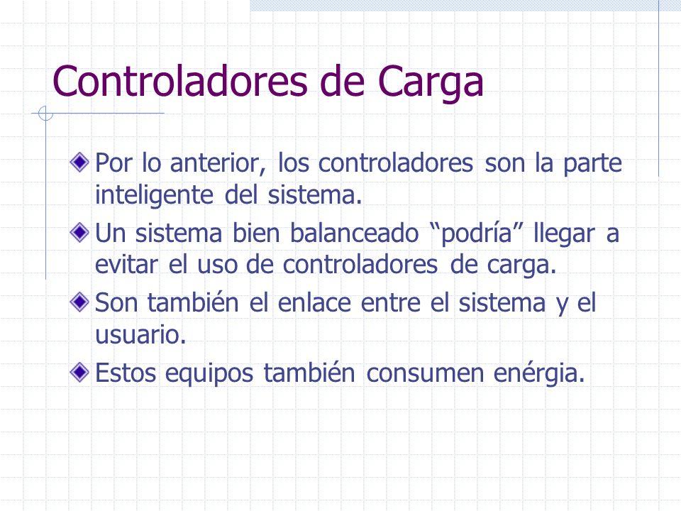 Controladores de Carga Voltajes típicos de Operación: 12,24 y 48 Vcd.