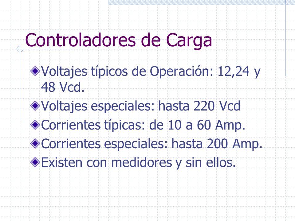 Controladores de Carga Voltajes típicos de Operación: 12,24 y 48 Vcd. Voltajes especiales: hasta 220 Vcd Corrientes típicas: de 10 a 60 Amp. Corriente