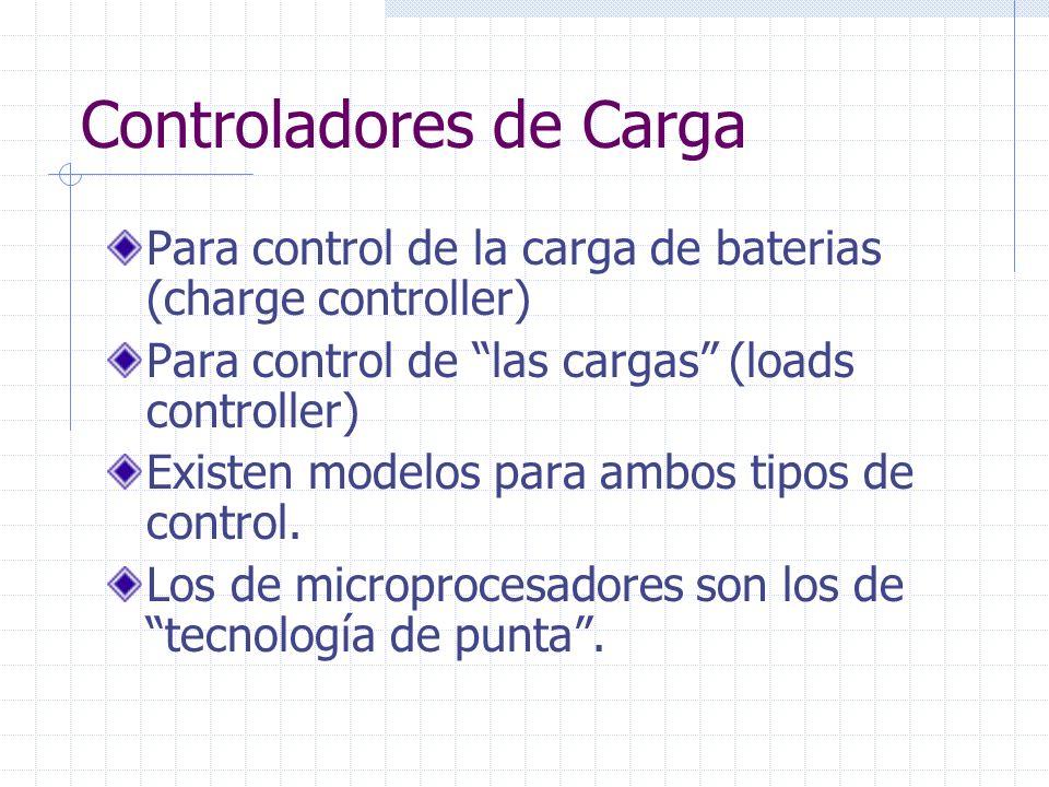 Controladores de Carga Las funciones mínimas recomendadas: Control de carga de baterías Control de descarga de baterías Medidor de voltaje de Baterías Fusible de protección del arreglo fotovoltáico.