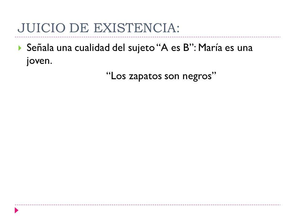 JUICIO DE EXISTENCIA: Señala una cualidad del sujeto A es B: María es una joven. Los zapatos son negros