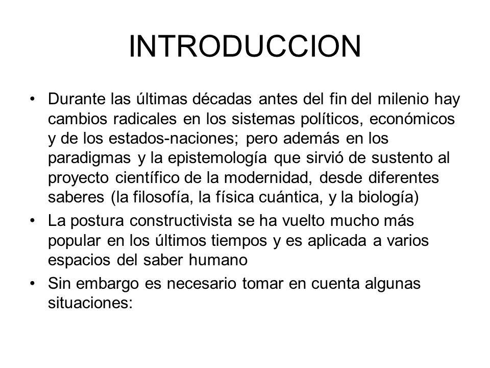 INTRODUCCION –En el tema del construccionismo encontramos al construccionismos socia, filosófico, sociologico, evolutivo; el contructivismo de Palo Alto y en este: en la terapia sistémica, en la biología del conocimiento.