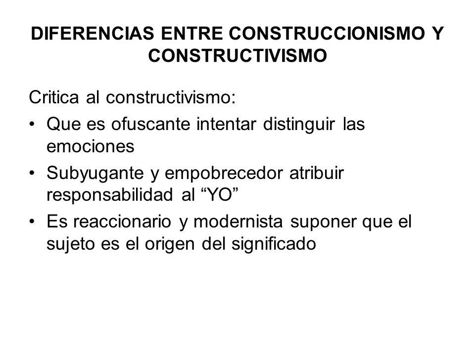 DIFERENCIAS CON EL CONSTRUCTIVISMO Diferencia con el constructivismo: Un constructivista otorga a la emoción un papel fundamental (incluso principal )por tanto el cambio es emocional no solo discursivo, del lenguaje El abordaje constructivista mantiene que si puede construirse (no solo descubrirse) El constructivismo involucra la teoría y la práctica, no puede reducirse solo a la técnica Considera que no es posible la neutralidad, tampoco la ausencia de jerarquías (como en toda interacción)