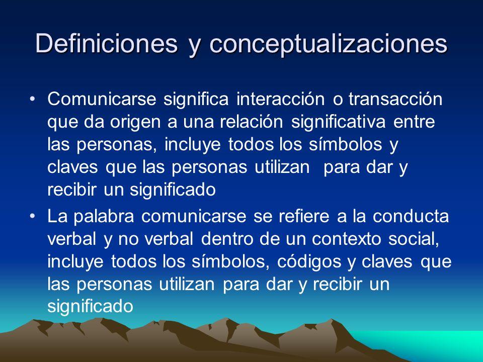 Definiciones y conceptualizaciones Comunicarse significa interacción o transacción que da origen a una relación significativa entre las personas, incl