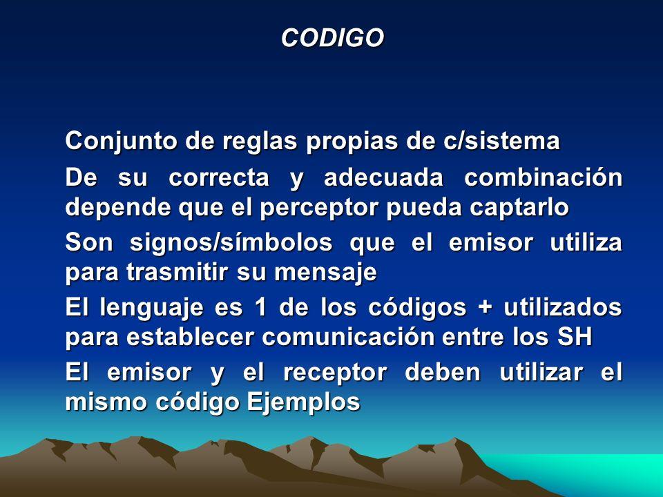 CODIGO Conjunto de reglas propias de c/sistema De su correcta y adecuada combinación depende que el perceptor pueda captarlo Son signos/símbolos que e