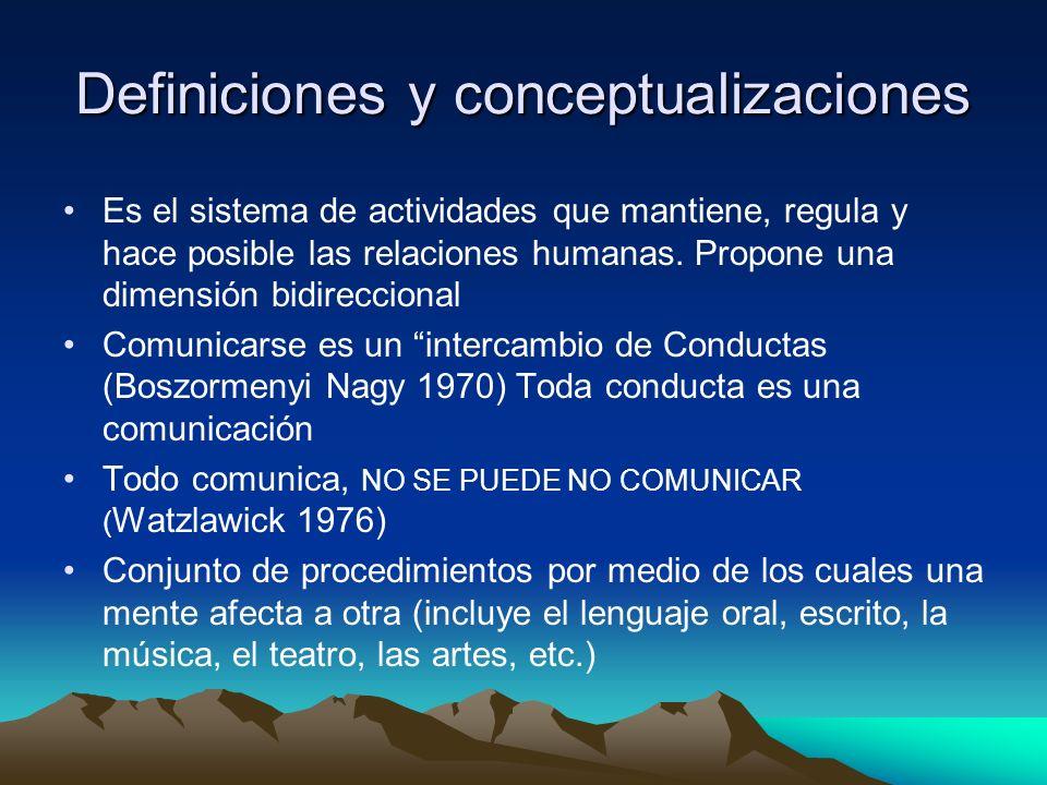 Definiciones y conceptualizaciones Es el sistema de actividades que mantiene, regula y hace posible las relaciones humanas. Propone una dimensión bidi