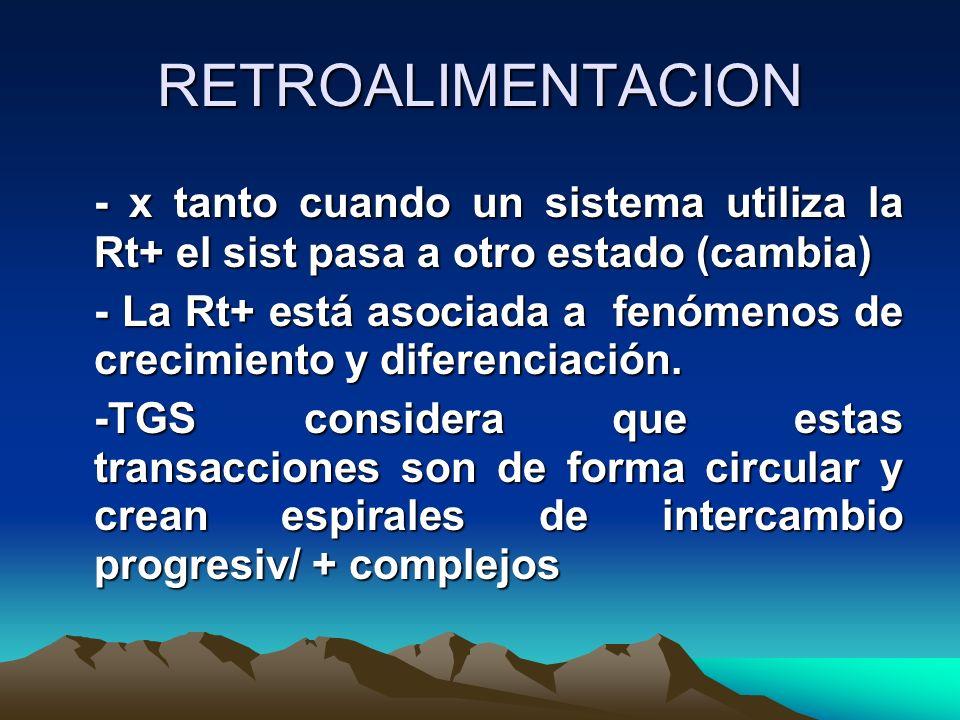 RETROALIMENTACION - x tanto cuando un sistema utiliza la Rt+ el sist pasa a otro estado (cambia) - La Rt+ está asociada a fenómenos de crecimiento y d