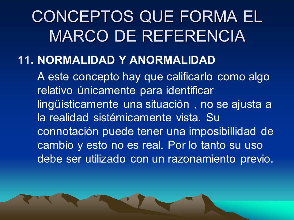CONCEPTOS QUE FORMA EL MARCO DE REFERENCIA 11.NORMALIDAD Y ANORMALIDAD A este concepto hay que calificarlo como algo relativo únicamente para identifi