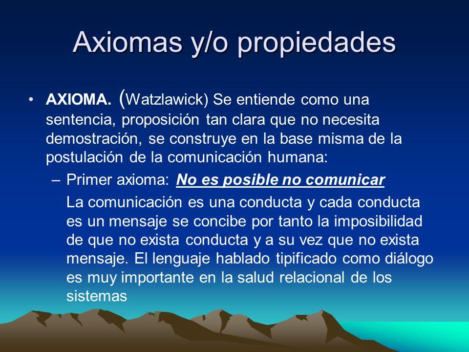 Axiomas y/o propiedades AXIOMA. ( Watzlawick) Se entiende como una sentencia, proposición tan clara que no necesita demostración, se construye en la b