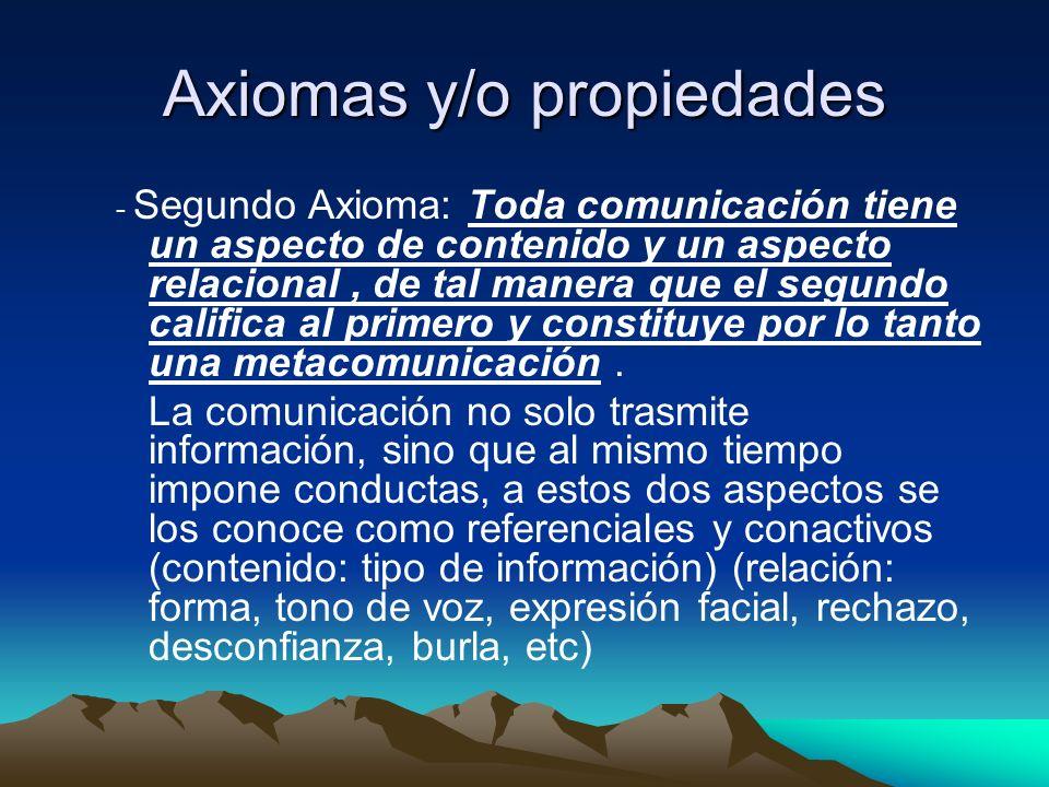 Axiomas y/o propiedades - Segundo Axioma: Toda comunicación tiene un aspecto de contenido y un aspecto relacional, de tal manera que el segundo califi