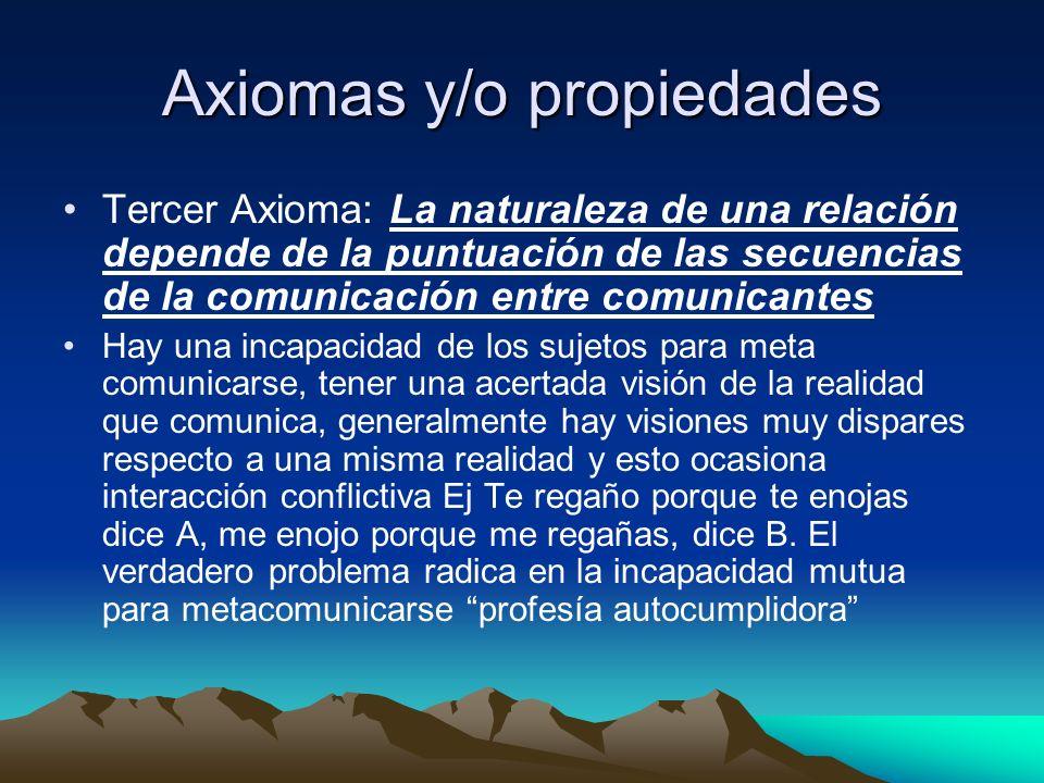 Axiomas y/o propiedades Tercer Axioma: La naturaleza de una relación depende de la puntuación de las secuencias de la comunicación entre comunicantes
