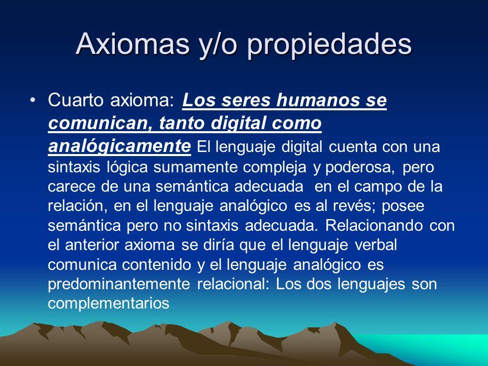 Axiomas y/o propiedades Cuarto axioma: Los seres humanos se comunican, tanto digital como analógicamente El lenguaje digital cuenta con una sintaxis l