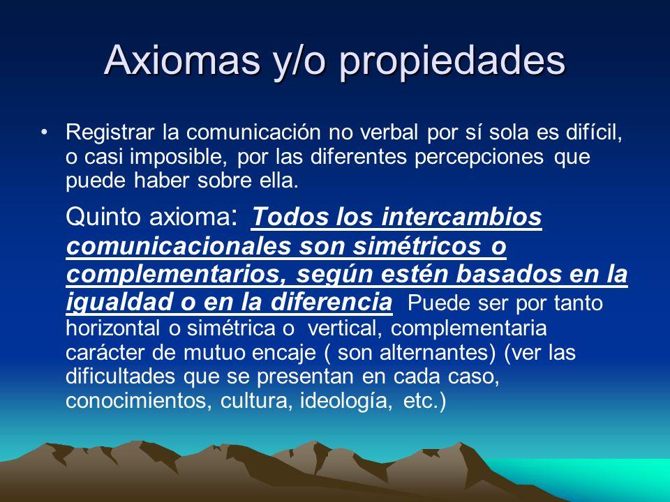 Axiomas y/o propiedades Registrar la comunicación no verbal por sí sola es difícil, o casi imposible, por las diferentes percepciones que puede haber