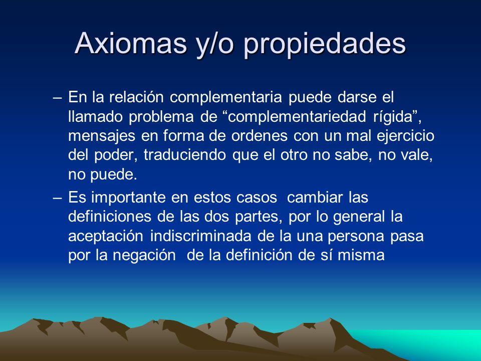 Axiomas y/o propiedades –En la relación complementaria puede darse el llamado problema de complementariedad rígida, mensajes en forma de ordenes con u