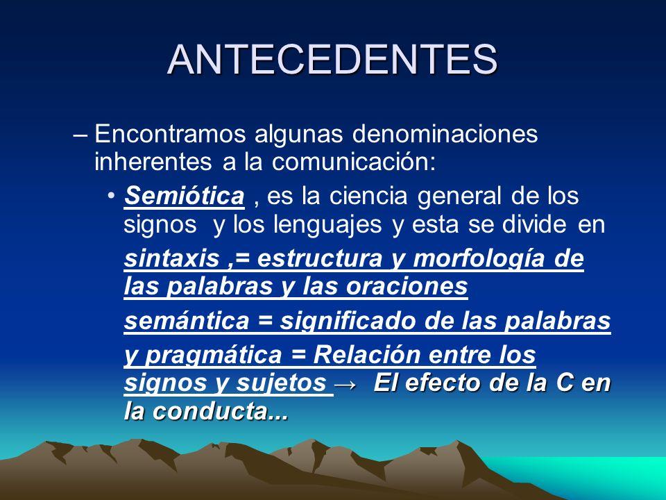 ANTECEDENTES –Encontramos algunas denominaciones inherentes a la comunicación: Semiótica, es la ciencia general de los signos y los lenguajes y esta s