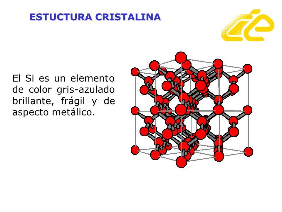 ESTUCTURA CRISTALINA El Si es un elemento de color gris-azulado brillante, frágil y de aspecto metálico.
