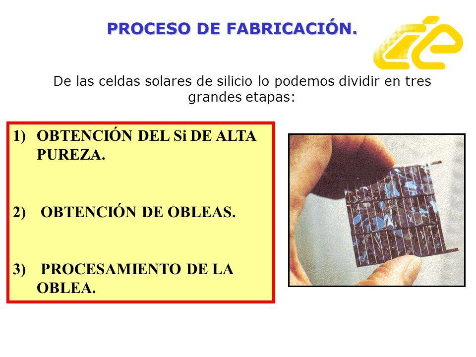 De las celdas solares de silicio lo podemos dividir en tres grandes etapas: 1)OBTENCIÓN DEL Si DE ALTA PUREZA. 2) OBTENCIÓN DE OBLEAS. 3) PROCESAMIENT