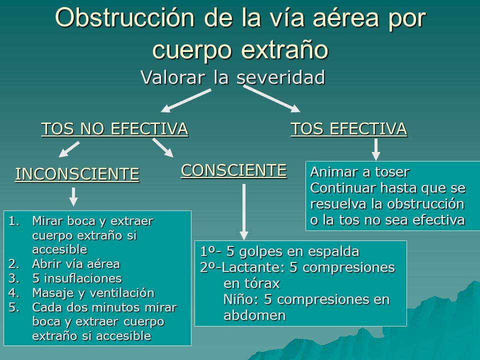 Valorar la severidad TOS EFECTIVA Animar a toser Continuar hasta que se resuelva la obstrucción o la tos no sea efectiva TOS NO EFECTIVA CONSCIENTE IN