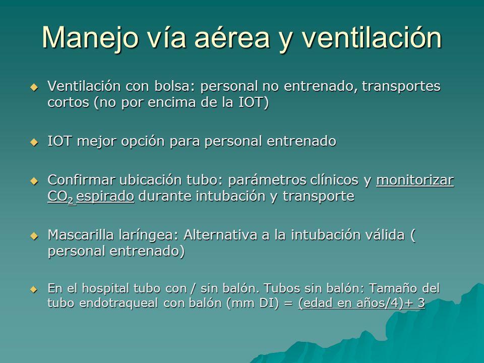 Manejo vía aérea y ventilación Ventilación con bolsa: personal no entrenado, transportes cortos (no por encima de la IOT) Ventilación con bolsa: perso