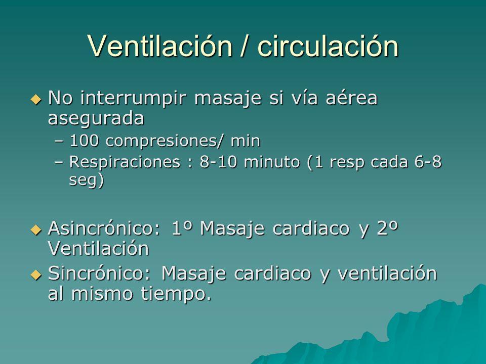 Ventilación / circulación No interrumpir masaje si vía aérea asegurada No interrumpir masaje si vía aérea asegurada –100 compresiones/ min –Respiracio