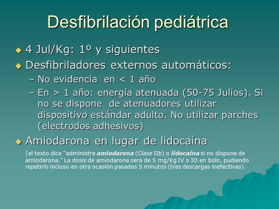 Desfibrilación pediátrica 4 Jul/Kg: 1º y siguientes 4 Jul/Kg: 1º y siguientes Desfibriladores externos automáticos: Desfibriladores externos automátic