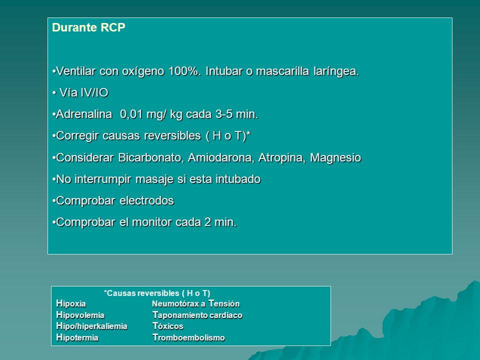Durante RCP Ventilar con oxígeno 100%. Intubar o mascarilla laríngea.Ventilar con oxígeno 100%. Intubar o mascarilla laríngea. Vía IV/IO Vía IV/IO Adr
