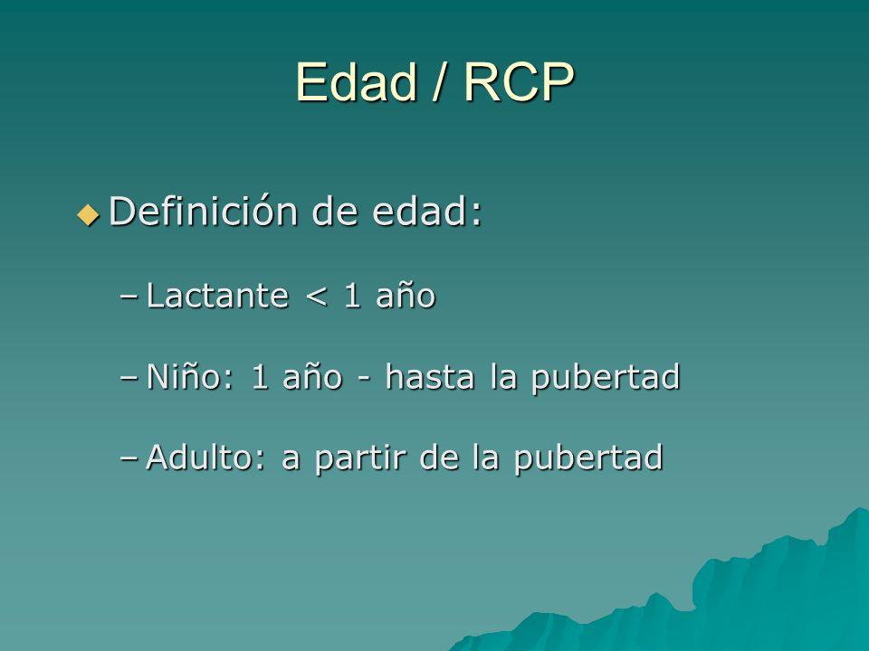 Definición de edad: Definición de edad: –Lactante < 1 año –Niño: 1 año - hasta la pubertad –Adulto: a partir de la pubertad Edad / RCP