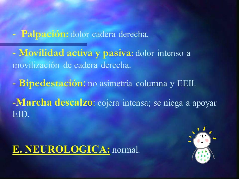 E. LOCOMOTORA - Inspección: columna: normal. extremidades: EID en RE, flex y abd. No signos visibles de inflamación. No herida/punto de entrada. Longi